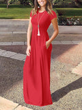 Red Pockets Short Sleeve Round Neck Loose Casual Ladies Maxi Dress
