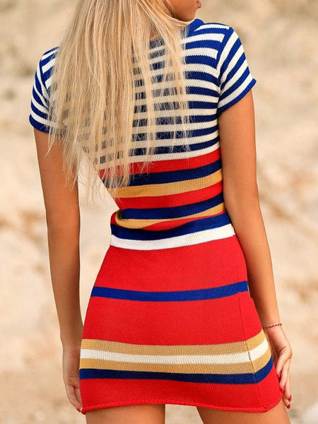Red Striped Print Round Neck Long Sleeve Fashion Mini Dress
