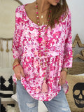 Rose Carmine Floral Pleated Ruffle Round Neck Three Quarter Length Sleeve Fashion Blouse