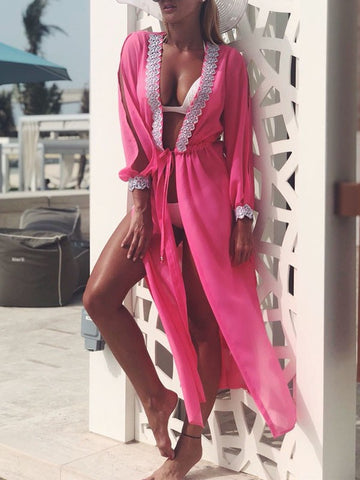 Rose Carmine Patchwork Lace Cut Out Drawstring Long Sleeve Bohemian Beach Smock Cardigan Kimono Cover Up