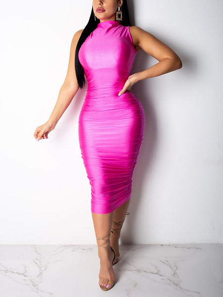 Rose Red Metallic Color Zipper Sleeveless Hip Bodycon Clubwear Birthday Party Maxi Dress