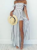 Striped Split Off-the-shoulder Maxi Dresses