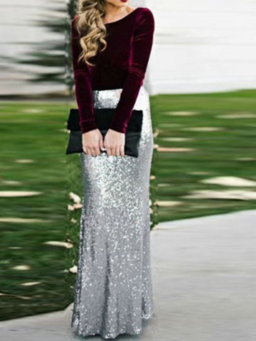Silver Patchwork Sequin High Elastic Waist Fishtail Glitter Sparkly Fashion Long Skirt