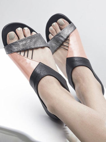 Silver Round Toe Patchwork Flat Fashion Sandals
