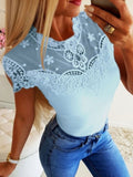 Sky Blue Patchwork Lace Round Neck Short Sleeve Going out T-Shirt