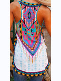 White Africa Tribal Print Round Neck Casual Beach Vest
