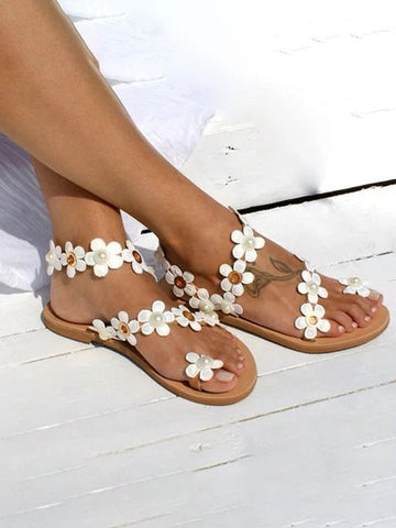 White Almond Toe Print Flat Fashion Shoes