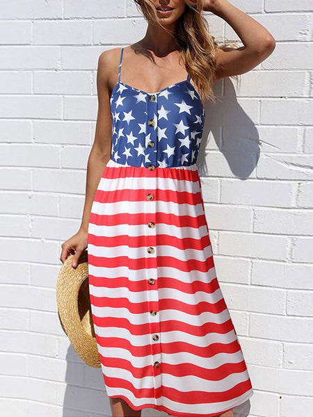 White American Flag Print V-neck Shoulder-Strap Single Breasted Independence Day Flowy Beach Midi Dress