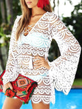 White Cut Out Lace Tassel Lace-up V-neck Long Sleeve Beach Smock Mini Dress