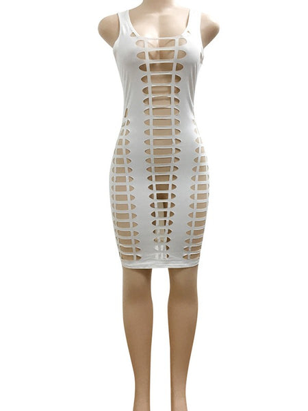 White Cut Out Lace up Square Neck Sleeveless Ladies Clubwear Mini Dress