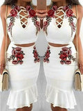 White Embroidery Lace-Up Crop Mermaid Mexico Two-Piece Dress