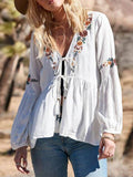 White Floral Embroidery Deep V-neck Lantern Sleeve Peplum Mexican Boho Blouse