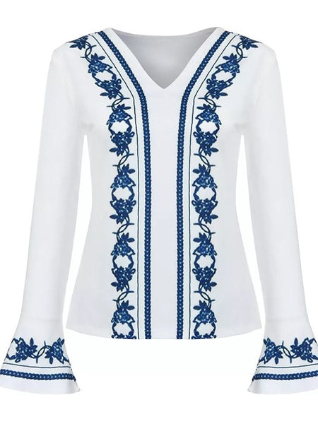 White Floral Print V-neck Long Sleeve Fashion Blouse