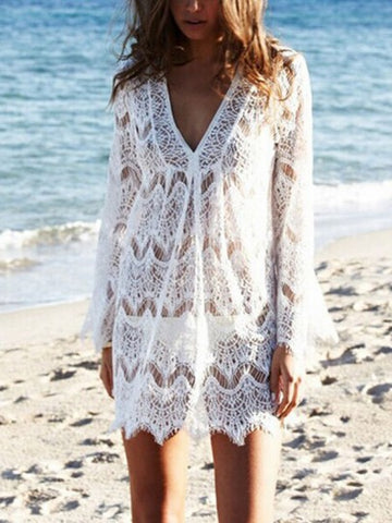 White Lace Cut Out Draped V-neck Long Sleeve Cover-Up Bikini Smock Boho Mini Dress