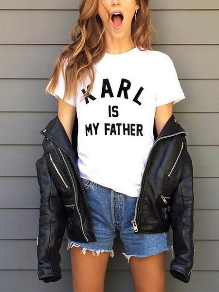White Monogram Karl Is My Father Print Round Neck Short Sleeve Fashion T-Shirt