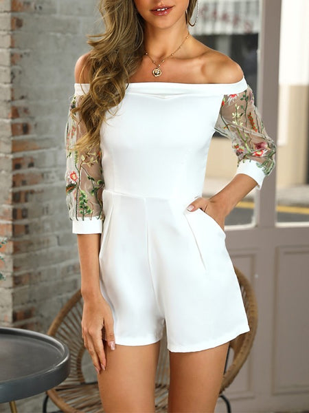 White Patchwork Embroidery Pockets Boat Neck Fashion Short Jumpsuit Pant