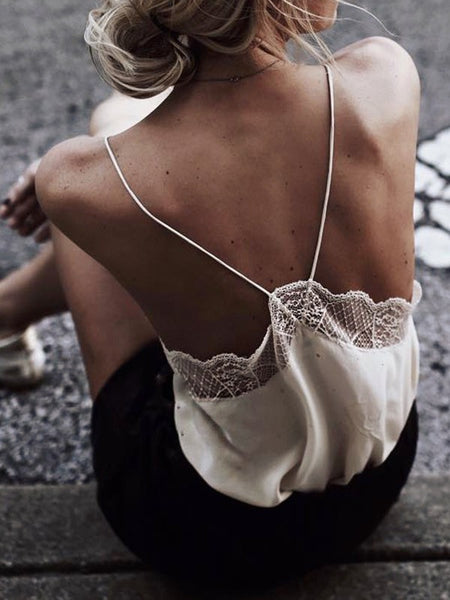 White Patchwork Lace Backless Spaghetti Strap Deep V-neck Fashion Vest