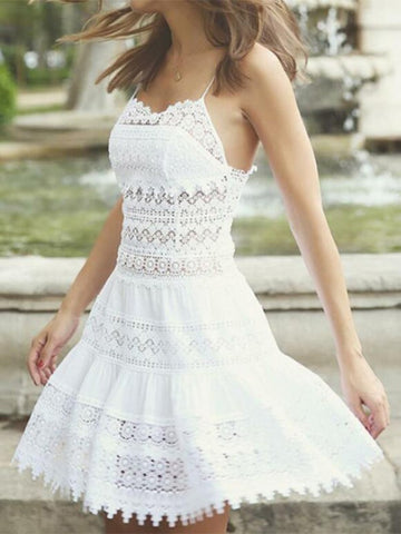 White Patchwork Lace Draped Backless Spaghetti Strap Bohemian Mini Dress