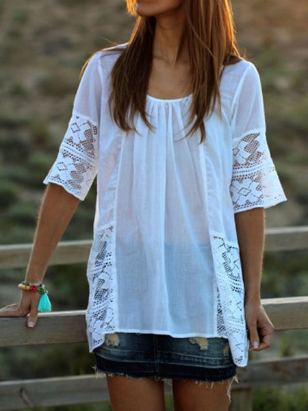 White Patchwork Lace Draped Chiffon Elbow Sleeve Going out Blouse