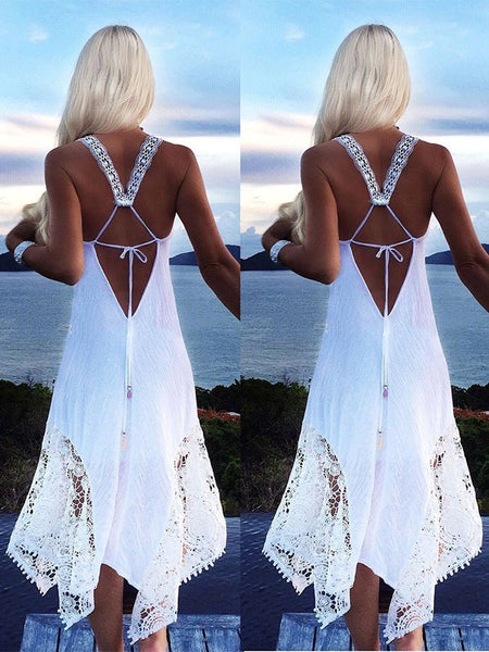 White Patchwork Lace Irregular Tie Back Backless Boho Beach Midi Dress