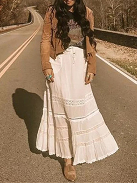 White Patchwork Lace Pockets Drawstring Bohemian Long Skirt