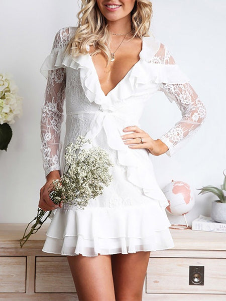 White Patchwork Lace Ruffle Deep V-neck Long Sleeve Going out Mini Dress