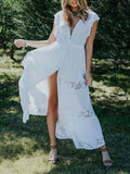 White Patchwork Lace Ruffle Drawstring Waist Deep V-neck Flowy Bohemian Maxi Dress