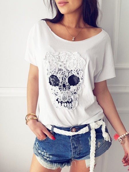 White Patchwork Lace Skull Print Round Neck Short Sleeve Fashion T-Shirt