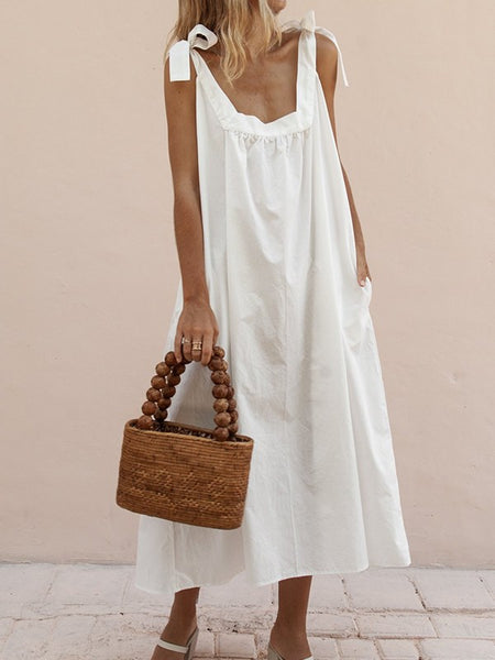 White Pockets Draped Bow Backless Sleeveless Bohemian Midi Dress