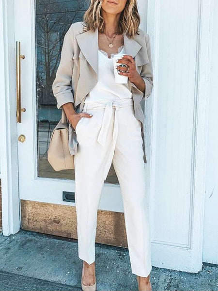 White Pockets High Waisted Fashion Long Pants
