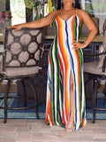 White Rainbow Striped Spaghetti Strap Backless V-neck Beachwear Bohemian Party Maxi Dress