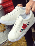 White Round Toe Flat Embroidery Casual Fashion Shoes
