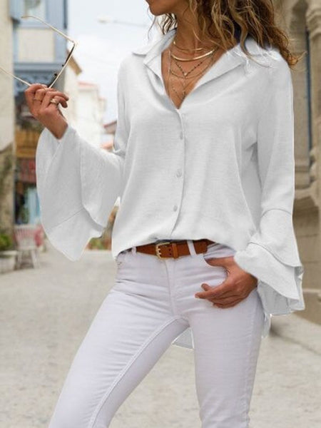 White Single Breasted Chiffon Turndown Collar Flare Sleeve Fashion Blouse