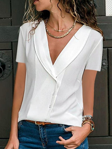 Single Breasted Deep V-neck Short Sleeve Fashion Blouse