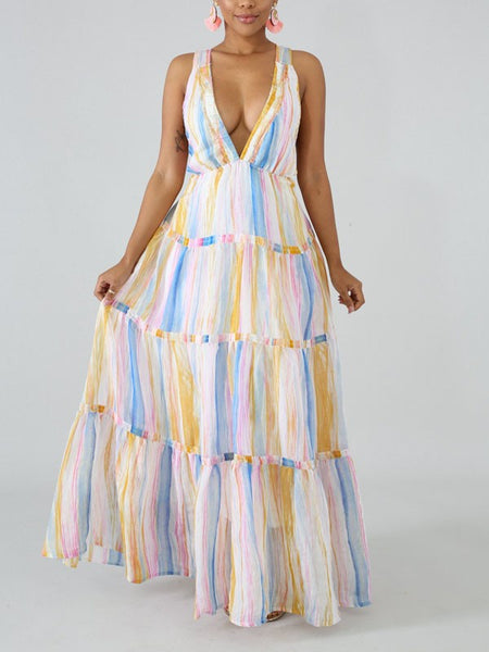 White Tie Dyeing Pleated Deep V-neck Elegant Prom Evening Party Maxi Dress