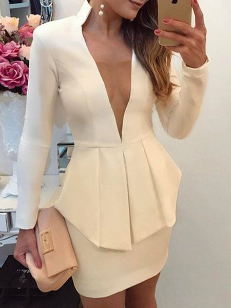 White Tiered Deep V-neck Long Sleeve Band Collar Peplum Work Office Ladies Mini Dress