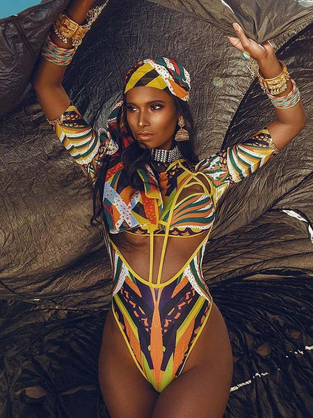 Yellow Africa Tribal Aztec Cut Out Round Neck Elbow Sleeve Beach One-Piece Swimwear