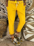 Yellow Drawstring Elastic Waist High Waisted Fashion Long Pants
