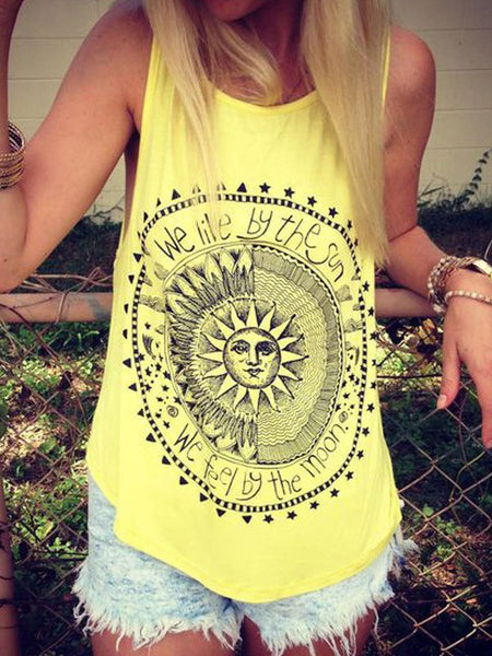 Yellow Floral Print Round Neck Sleeveless Fashion Vest