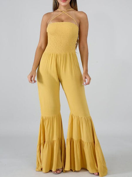 Yellow Pleated Spaghetti Strap Backless Flare Bell Bottom Bohemian Long Jumpsuit
