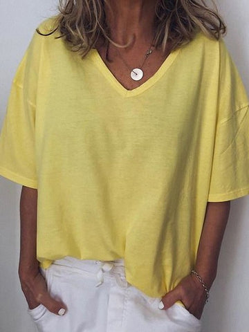 Yellow Pleated V-neck Short Sleeve Fashion T-Shirt
