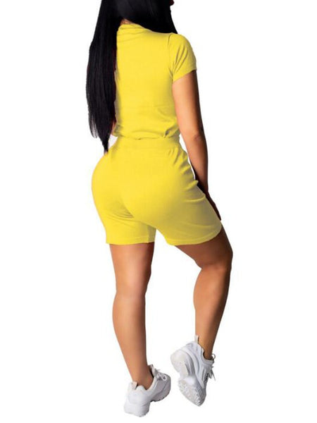 Yellow Sequin Tongue Out Pockets High Waisted Two Piece Casual Short Jumpsuit