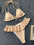 Yellow Striped Cut Out Ruffle Plunging Neckline Fashion Bikini