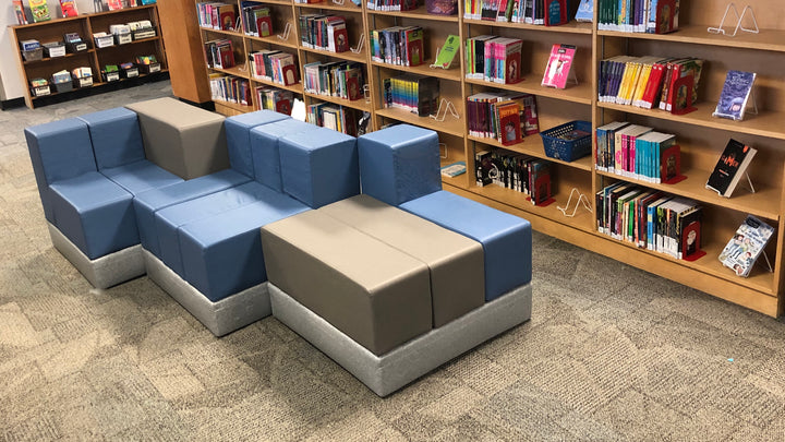Modular Soft Seating 3Scape Bench installed in the library of  Viscount Alexander School in Winnipeg Manitoba Canada
