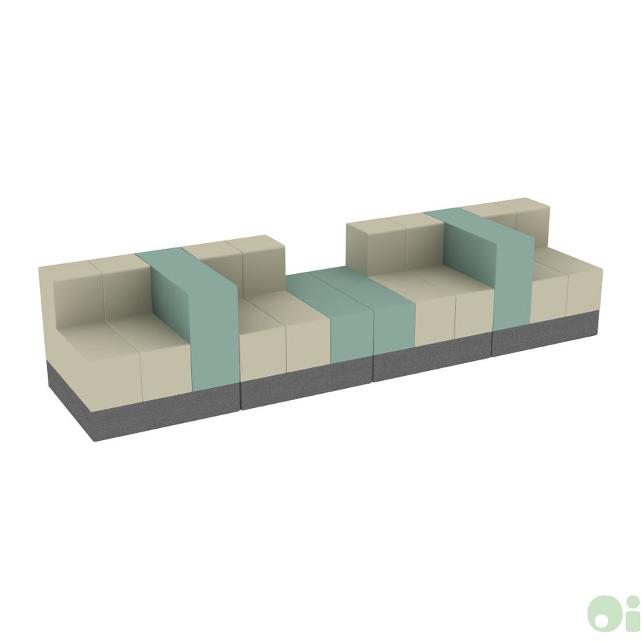 4Scape Commons Bench in Pebble & Seaport