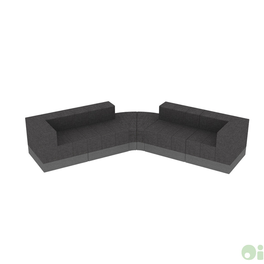 5Scape Lounge Sectional in Silica Leather Pewter