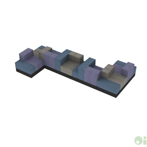 7Scape Learning Commons Sectional in Tidal & Forge & Myth w Black Base