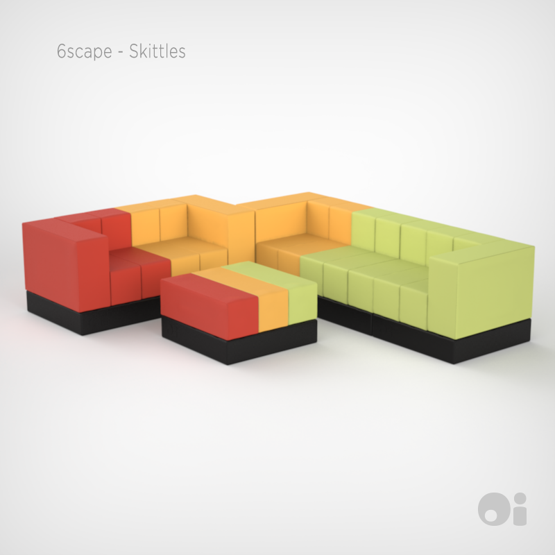 Cellular™ Colourscape Skittles Sectional in Tangello Flan and Jessamy Fun Coverings