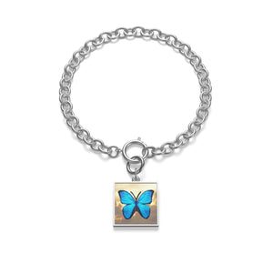 Letting Go Blue Butterfly Chunky Chain Bracelet