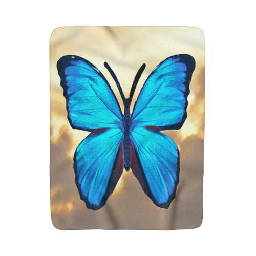 Letting Go (Blue Butterfly) Sherpa Fleece Blanket